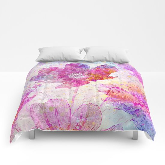colorful Flowers mixed media art Comforters