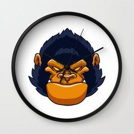 angry ape gorilla face Wall Clock
