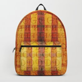 Pattern with the alphabet and hot colors in stripes Backpack