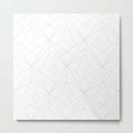 Geometric White Gray Modern Pattern  Metal Print