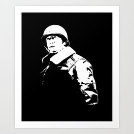 General George Patton - Black and White Art Print