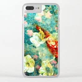 White Flowers on Turquoise Plant Clear iPhone Case