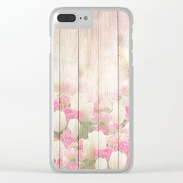 Beautiful Pink Tulip Floral Vintage Shabby Chic Clear iPhone Case