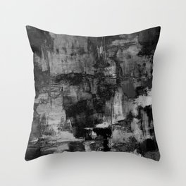 Crackled Gray - Black, white and gray, grey textured abstract Throw Pillow