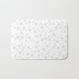 Block Print Silver-Gray and White Stars Pattern Bath Mat