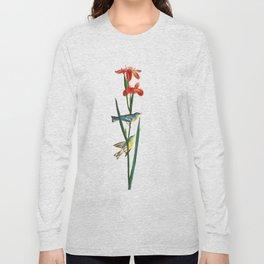 Bird & Red Flowers Long Sleeve T-shirt