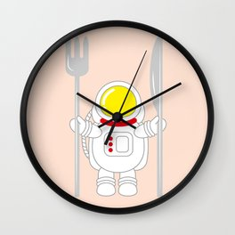 Space Odyssey | Astronaut Eats | Space Utensils | Galaxy Fork and Knife | pulps of wood Wall Clock
