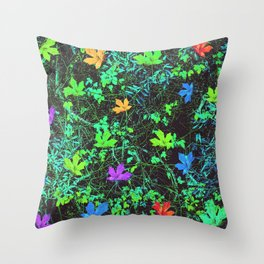 maple leaf in pink blue green orange with green creepers plants Throw Pillow