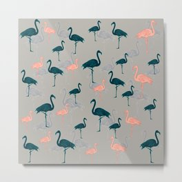 Tropical Gathering Flamingo Design Metal Print