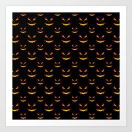 Cool scary Jack O'Lantern face Halloween pattern Art Print