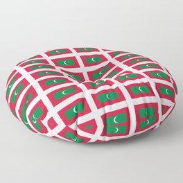 flag of maldives- Maldivian,Dhivehi,malé,Addu, Thaana,Maldivas,Maldivo. Floor Pillow