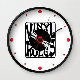 Vinyl Rules Music Quotes Wall Clock