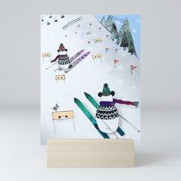 Pandas gone skiing Mini Art Print