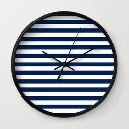 Slate blue and White Thin Stripes - Navy Nautical Pattern Wall Clock