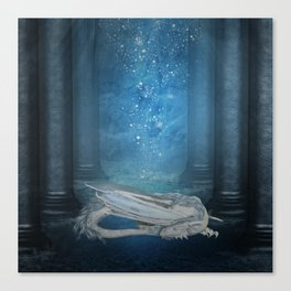 Awesome sleeping ice dragon Canvas Print