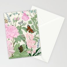 Pink flowers and butterflies Stationery Cards