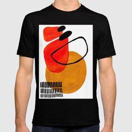 Mid Century Modern Abstract Vintage Pop Art Space Age Pattern Orange Yellow Black Orbit Accent T-shirt