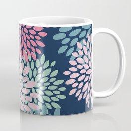 Floral Pattern, Navy Blue, Pink, Coral, Green Coffee Mug
