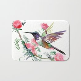 Flying Hummingbird and Red Flowers Bath Mat