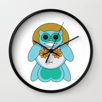 tina crespo Wall Clocks featuring Tina Tanuki by Sonya Saturday