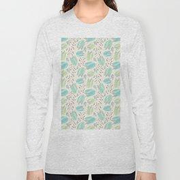 Ivory mint teal modern floral berries illustration Long Sleeve T-shirt