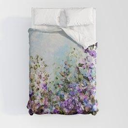 Floral Garden Impressionism in Pretty Purple Duvet Cover