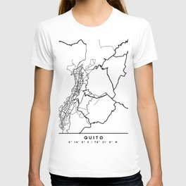 QUITO ECUADOR BLACK CITY STREET MAP ART T-shirt