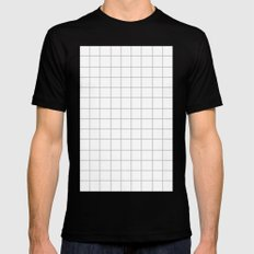 Grid (Silver/White) MEDIUM Mens Fitted Tee Black