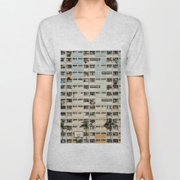 Colorful building Facade in Hong Kong - pastel color - Basketball court, Hongkong Unisex V-Neck
