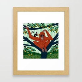 The Orangutan in The Orange Trees. Framed Art Print