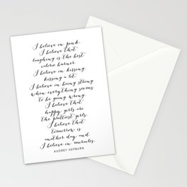I Believe In Pink. I Believe That Laughing Is the Best Calorie Burner… -Audrey Hepburn Script Stationery Cards