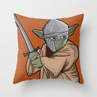 medieval Throw Pillows featuring Yoda medieval  by  Steve Wade ( Swade)