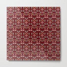 Fall Winter Floral Pattern Fired Brick BG Metal Print