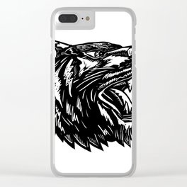 Growling Tiger Woodcut Black and White Clear iPhone Case