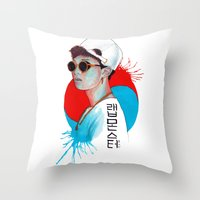 korea Throw Pillows featuring South Korea by Tunyon