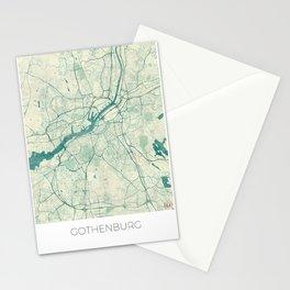 Gothenburg Map Blue Vintage Stationery Cards