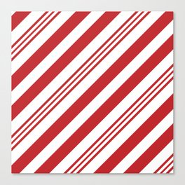 Red Candy Cane Stripes Canvas Print