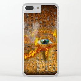The Prophecy of Fire - Ancient Egypt Eye of Horus Clear iPhone Case