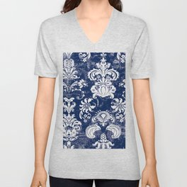 navy and white breeze Unisex V-Neck