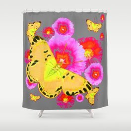 YELLOW BUTTERFLIES PINK MODERN FLOWERS Shower Curtain