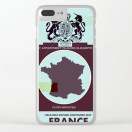 France vintage worn style map poster Clear iPhone Case