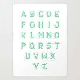 Chiseled green alphabet typeface Art Print