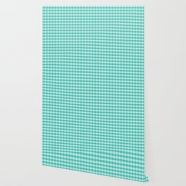 Teal Gingham Large Checks Wallpaper