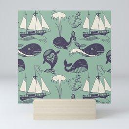 funny whales Mini Art Print