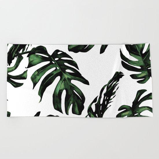 Tropical Green Palm Leaves Beach Towel