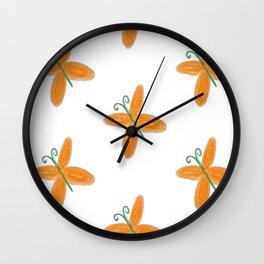 Orange butterflies Wall Clock
