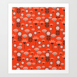 Whimsy wildflowers in red Art Print