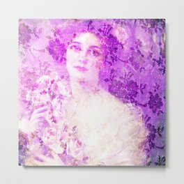 Beautiful female from Victorian era, Belle epoque,art nouveau, vintage,lace,elegant,chic,modern,tren Metal Print