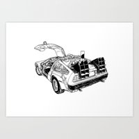 delorean Art Prints featuring delorean by marzini
