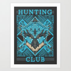 Hunting Club: Azure Rathalos Art Print